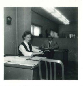 1954 kathryn wolgemuth conducting clerical duties