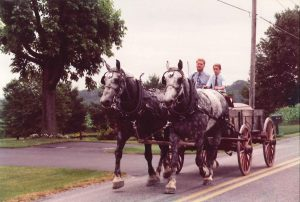 1997 man and boy driving horse-drawn carriage