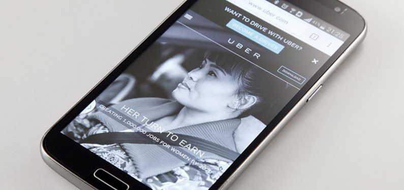 Uber website on mobile phone
