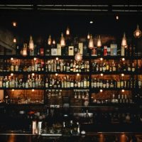 shelves of liquor in a bar