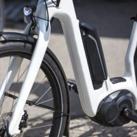 closeup of modern e-bike
