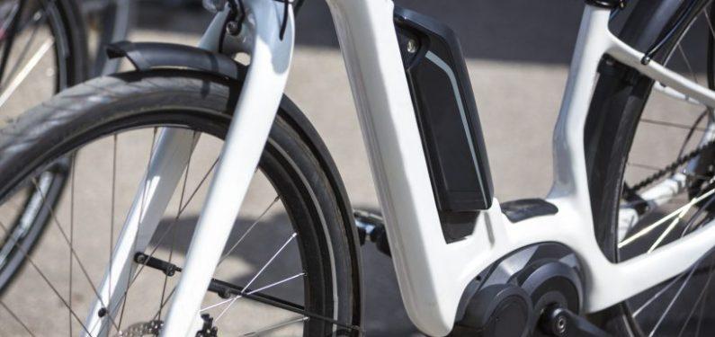 closeup of modern e-bike