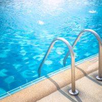 grab bars on a swimming pool